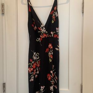 Lush Floral-Print Maxi Dress in Black and Red